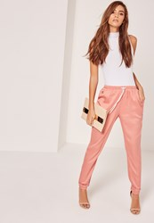 Missguided Tab Ankle Detail Cigarette Trousers Pink Peach