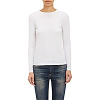 Barneys New York Women's Micro Knit Long Sleeve T Shirt White