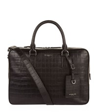 Michael Kors Croc Embossed Leather Briefcase Unisex Black