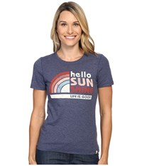 Life Is Good Hello Sunshine Cool Tee Darkest Blue Women's T Shirt