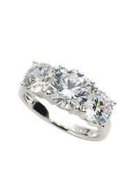 Crislu Platinum Over Sterling Silver Cubic Zirconia Three Stone Ring