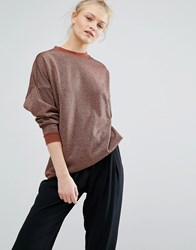 Monki Metallic Sweat Jumper Gold Lurex