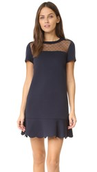 Red Valentino Short Sleeve Scuba Dress Blue