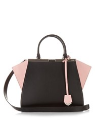 Fendi 3Jours Small Contrast Trapeze Wing Leather Tote Black Pink