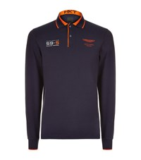 Hackett Aston Martin Racing Team Long Sleeve Polo Top Male Navy