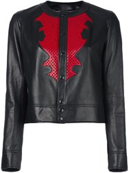 Anthony Vaccarello Buttoned Leather Jacket Black