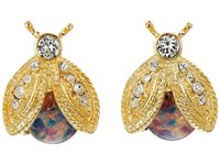 Kenneth Jay Lane Polished Gold Crystal Pink Opal Bee Clip Earrings Pink Opal Earring
