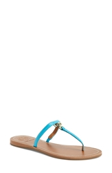 Tory Burch 'T' Logo Leather Thong Sandal Women Bright Turquoise