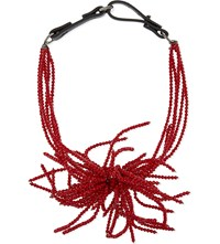 Brunello Cucinelli Knotted Beaded Necklace Dark Red