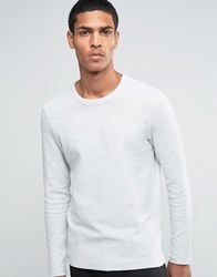 Selected Homme Ribbed Crew Neck Sweat Light Grey