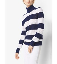Striped Cotton Mesh Turtleneck Maritime Wht