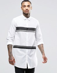 Asos White Shirt With Placement Print Stripe In Longline White