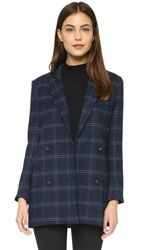 Capulet Plaid Double Breasted Blazer Navy Plaid