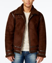 Guess Men's Jack Jacket With Faux Shearling Collar Chocolate Lab Multi