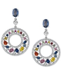 Macy's Multi Sapphire 4 2 3 Ct. T.W. And Diamond 1 1 4 Ct. T.W. Gypsy Hoop Earrings In 14K White Gold