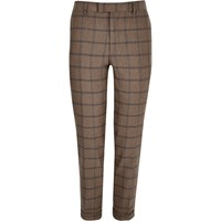River Island Mens Ecru Checked Skinny Cropped Suit Trousers Beige
