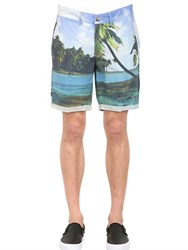 Hydrogen Beach Printed Cotton Cargo Shorts