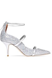 Malone Souliers Robyn Glittered Leather Pumps Silver