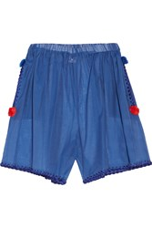 M Missoni Embroidered Cotton And Silk Blend Shorts Blue