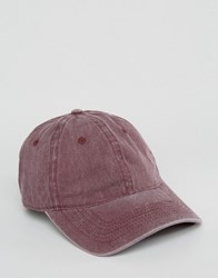 Asos Baseball Cap With Burgundy Pigment Dye Burgundy Red