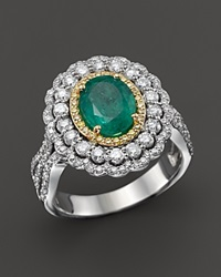 Bloomingdale's Emerald Yellow Diamond And White Diamond Ring In 14K White And Yellow Gold Green Gold