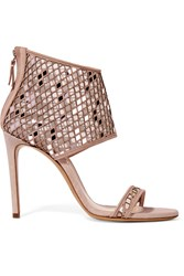 Casadei Suede And Laser Cut Metallic Mesh Sandals Brown