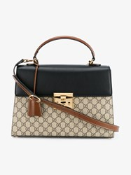 Gucci Monogram Print Leather Bag Brown Black