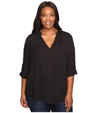 Stetson Plus Size Poly Crepe V Neck Blouse Black Women's Blouse