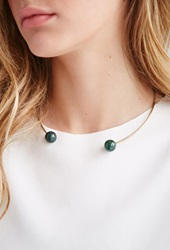 Forever 21 Faux Stone Collar Necklace Antic Gold Green
