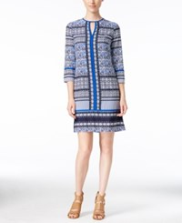 Vince Camuto Printed Keyhole Shift Dress Blue