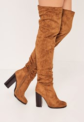 Missguided Tan Rouched Over The Knee Boots