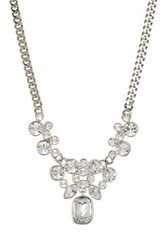 Givenchy Crystal Cluster Rectangle Pendant Y Necklace Metallic