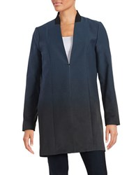 Elie Tahari Ombre Wool Blend Top Coat Blue Multi