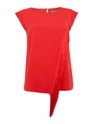 Biba Fringed Cap Sleeve Blouse Red