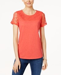 Charter Club Short Sleeve Lace Yoke Top Only At Macy's New Coral