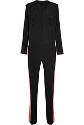Haider Ackermann Crepe De Chine Paneled Silk Jumpsuit Black