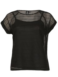 Izabel London Mesh Top With Horizontal Stripe Texture Black