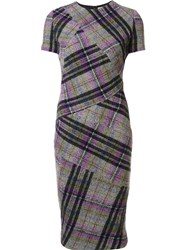 Victoria Beckham Checked Fitted Dress Grey