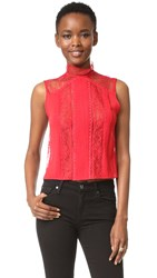 Alice Olivia Janette Mock Neck Sleeveless Top Ruby