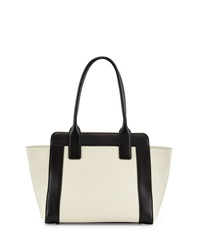 Charles Jourdan Fuller Leather Tote Cream Blac