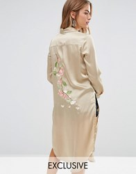 Young Bohemians Silky Shirt Dress With Delicate Embroidered Back Panel Khaki Green