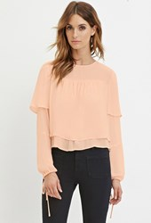 Forever 21 Contemporary Layered Chiffon Blouse Peach