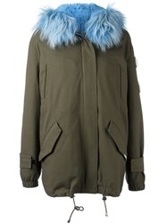 Forte Couture Fur Trim Parka Green