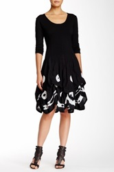 Luna Luz 3 4 Length Sleeve Puff Dress Black