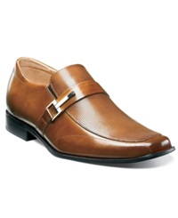 Stacy Adams Beau Bit Perforated Slip On Loafers Men's Shoes Cognac