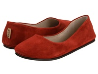 French Sole Sloop Red Suede Women's Flat Shoes