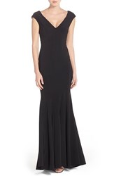 Women's Betsy And Adam Deep V Neck Jersey Mermaid Gown