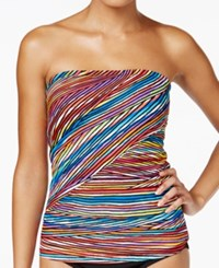 Anne Cole Pick Up Stix Asymetric Striped Bandeau Tankini Top Women's Swimsuit Multi