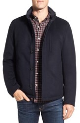 Sanyo Men's Fashion House Water Repellent Wool Blend Down Jacket Midnight