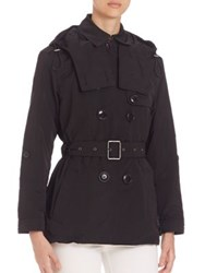 Burberry Knightsdale Short Hooded Trenchcoat Black